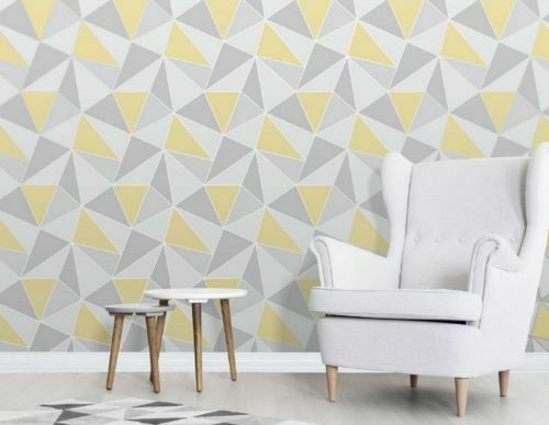 4x Fine Decor Wallpaper Geometric Triangle Modern Pattern Yellow Grey Apex