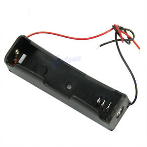 Plastic-Storage-Battery-Case-Box-Holder-For-1-x-18650-Black-With-6-034-Wire-Leads