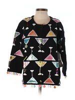 Women Design Options By Philip & Jane Gordon Martini Beaded Sweater Size S