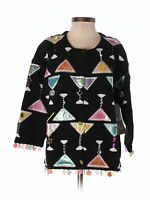 Women Design Options By Philip & Jane Gordon Martini Beaded Sweater Size S