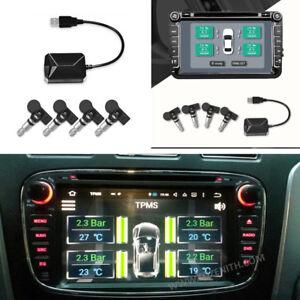 TPMS-mit-4-integrierten-Sensoren-Temperaturalarm-USB-fuer-Android-Auto-SUV-DVD