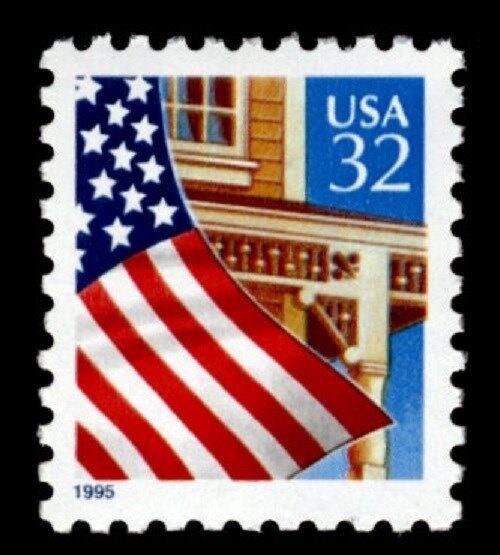 1995 32c Flag over Porch, WA Scott 2897 Mint F/VF NH