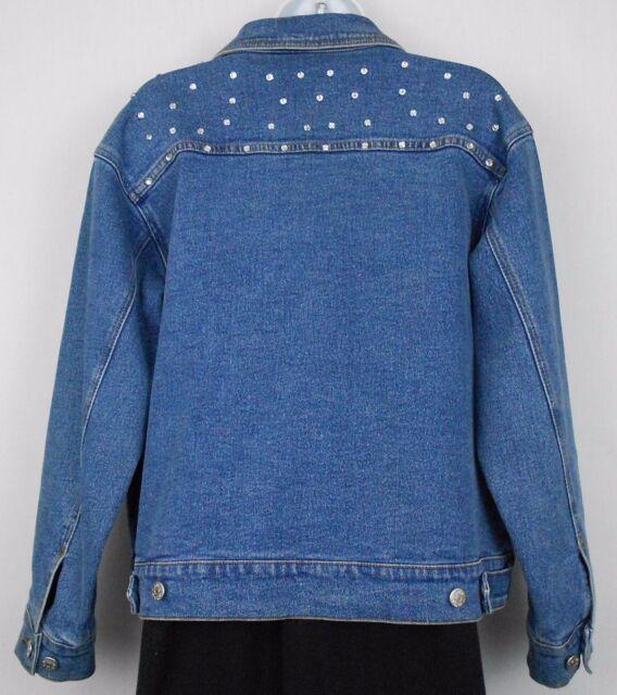Denim Co Jacket Size S Blue Jean Cotton Stretch Rhinestone Bling Women