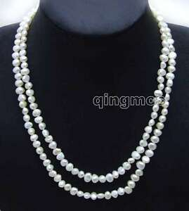 Fashion-Long-40-034-White-6-7mm-Baroque-Natural-Freshwater-Pearl-Necklace-for-Women