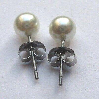 Brillante Boucles D'oreilles Clou Couleur Argent Perle Nacre Véritable Bijou Vintage 5001