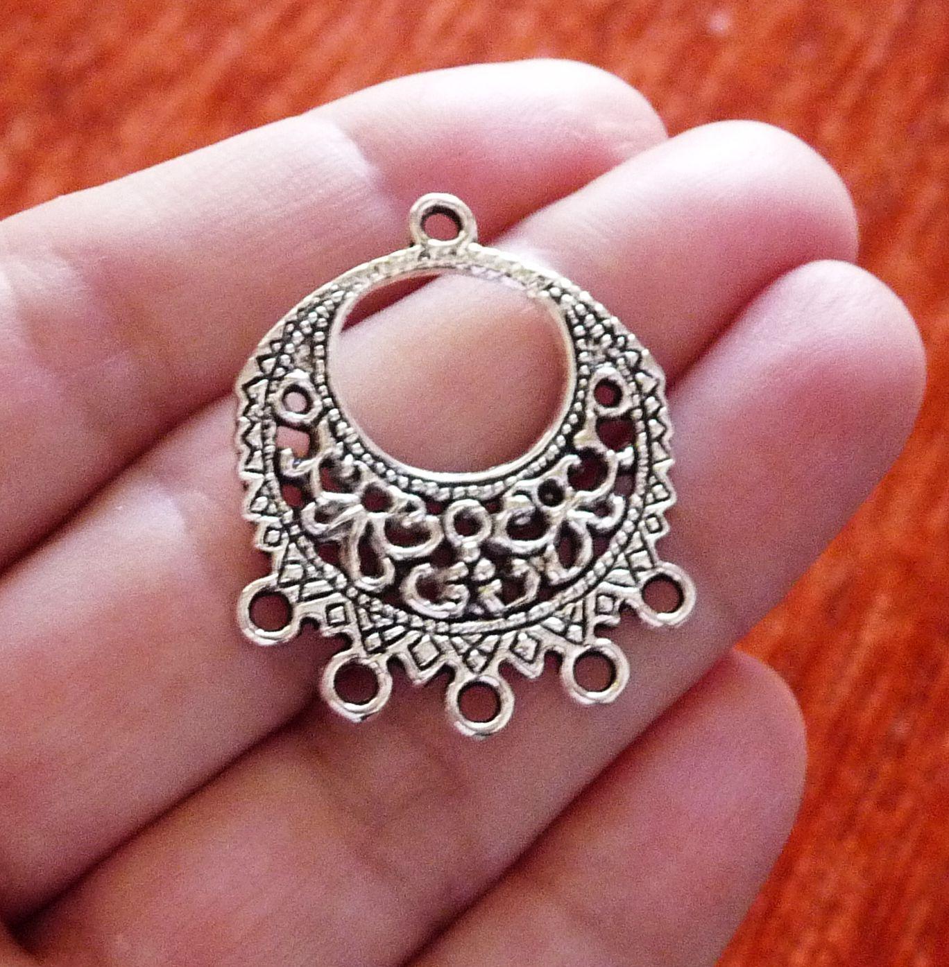 6x Fan Chandelier Earring Findings 7 Hole Multi Connector Pendant Jewelry Making