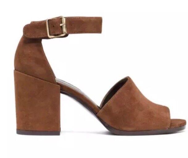 Stuart Weitzman Sohogal Suede Sandal Walnut Women Sz 8.5 M 5949