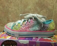 SKECHERS Kids Shoes Girls Sz 3 Youth Twinkle Toes Shuffles Glitter Dayz Light Up