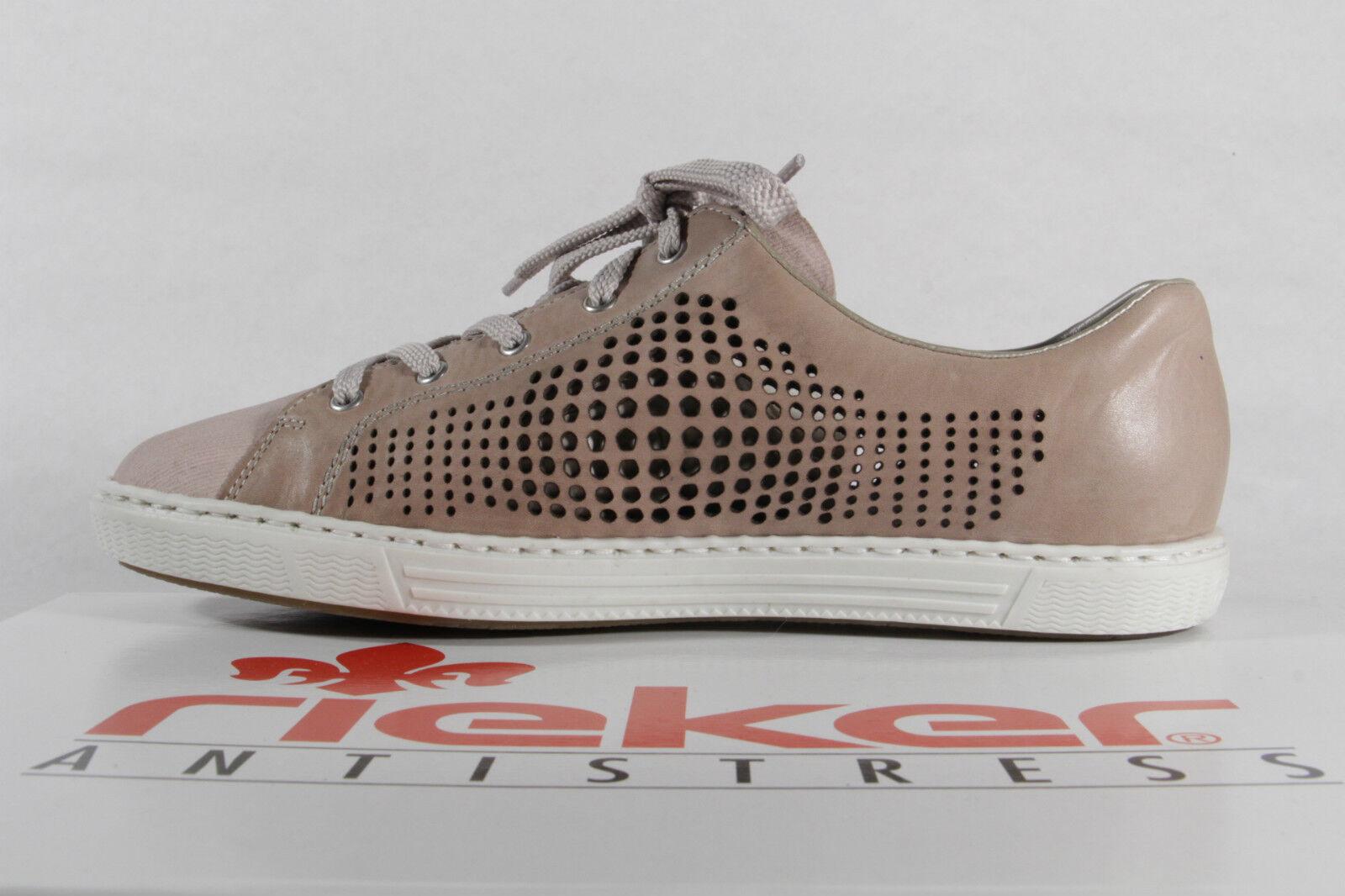 Rieker Women's Lace-Up shoes, Low shoes, shoes, shoes, Trainers Faux Leather Beige pink NEW 4a9c0d