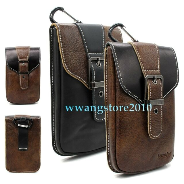 Retro Real Leather Pocket Belt Holster Case Carrying Pouch Cover For Cell Phone