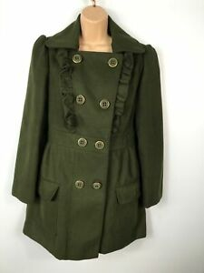 WOMENS-ATMOSPHERE-KHAKI-GREEN-DOUBLE-BREASTED-BUTTON-UP-OVERCOAT-JACKET-SIZE-12