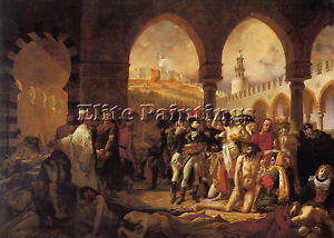 A-J-GROS-BONAPARTE-VISITING-PESTHOUSE-JAFFA-ARTIST-PAINTING-OIL-CANVAS-REPRO