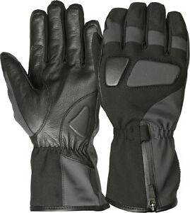 L Leather Gloves Motorcycle Motorbike Waterproof Thermal Mittens