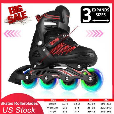 Details about  /Adjustable Inline Skates Roller Blades Unisex Adult Kid Breathable Flash Wheel