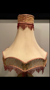 Victorian-Style-Lamp-Shade-With-Lace-Trim-and-Beaded-Fringe-PICK-UP-ONLY