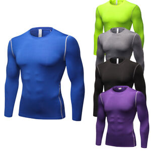 3ed8819c3803f3 Men's Compression Tops Running Gym Workout Shirts Long Sleeve Dri ...