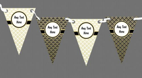 Elegant White Black And Gold Regal Personalised Birthday Party Bunting