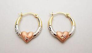 14k-Tri-Color-Gold-Women-039-s-Ladies-Hoop-With-Heart-Earrings