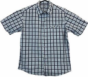 Kathmandu Enact Mens Blue Check Short Sleeve Button Up Shirt Size M