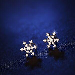 925-Sterling-Silver-Rose-Gold-Snow-Snowflake-Swarovski-Crystal-Stud-Earrings