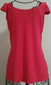 Joseph-Ribkoff-Top-Blouse-Size-6-Red-Cap-Sleeves-Cross-Back-Scoop-Neck-NWT