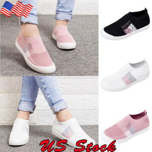 US-Women-Ladies-Mesh-Flat-Shoes-Breathable-Casual-Sneakers-Sports-Running-Shoes