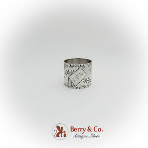 aesthetic engraved napkin ring coin silver 1875 ebay ebay