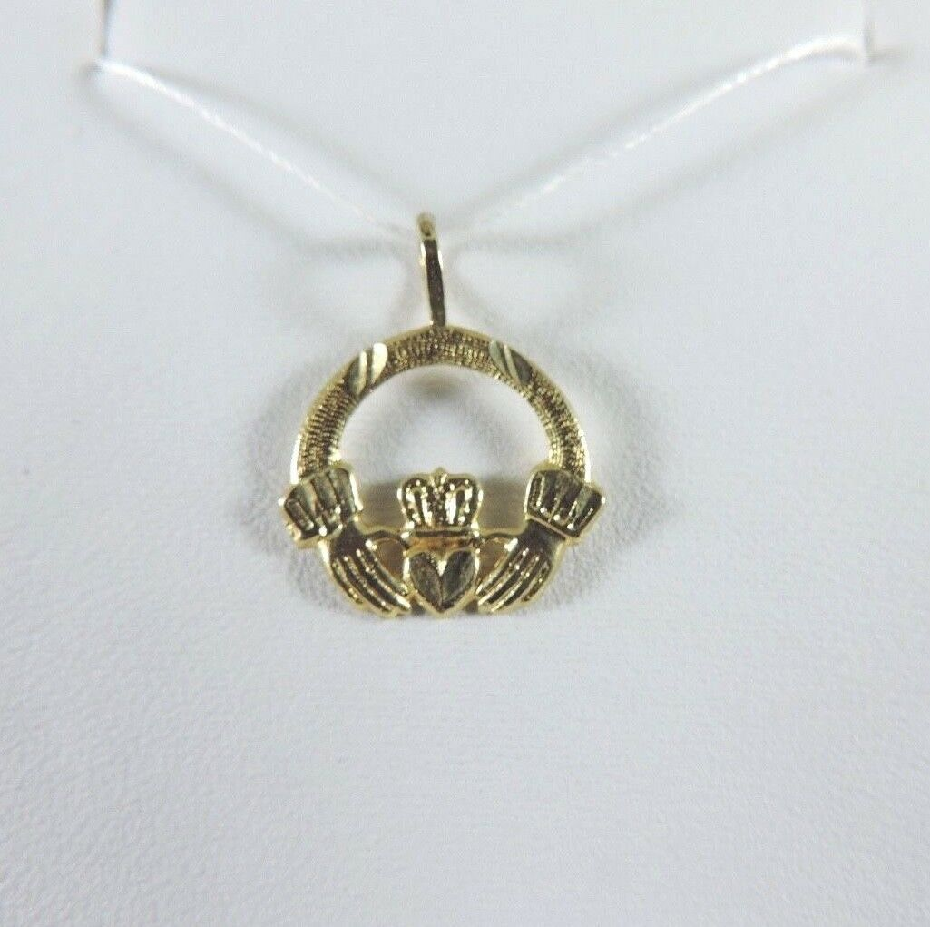 .585 14K YELLOW gold DIAMOND CUT IRISH CLADDAGH CLADDAUGH PENDANT