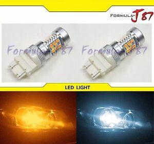 SMD-LED-Light-Switchback-Orange-Amber-6K-White-Two-Bulbs-3157-Turn-Signal-DRL