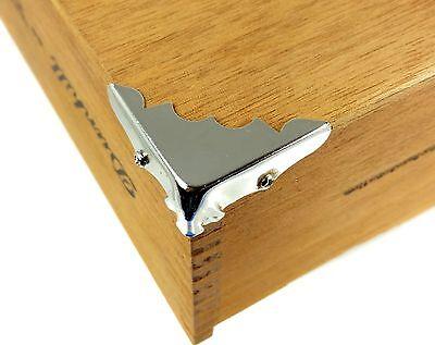 Low-Profile Nickel Box Corners with Screws 8pc Cigar Box Guitar Parts
