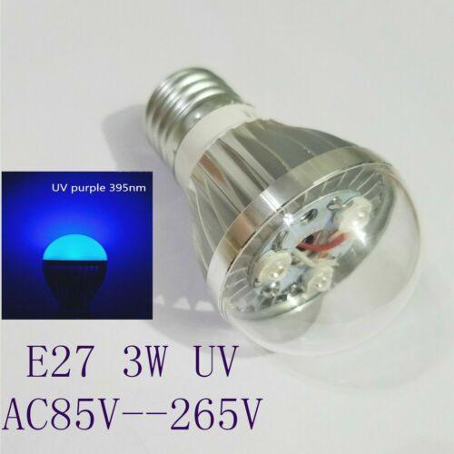 E27 3W UV 395NM 365nm Ultraviolet Purple LED Light Bulb Lamp AC85-265V