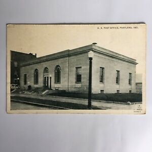 U-S-Post-Office-Portland-Indiana-Unposted-Postcard