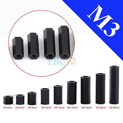 M3x12mm Female Thread Nylon Hex Standoff Spacer Pillar Black 100pcs