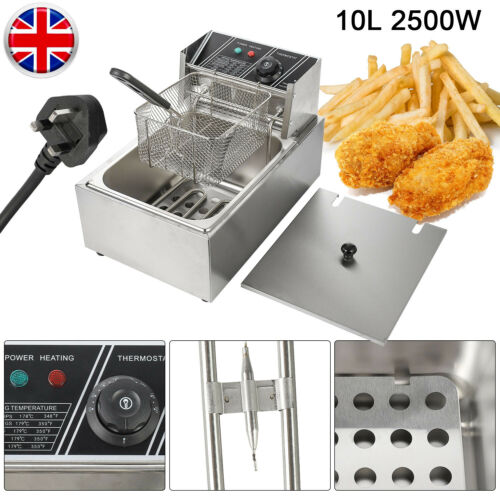 2500W Commercial Kitchen Electric Deep Fryer Fat Basket Fry Chip Pan Single Tank