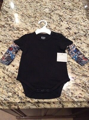 Size 6-12 Months Agreeable To Taste Baby & Toddler Clothing Honesty Bnwt's Black Stephan Baby Tattoo Snapshirt