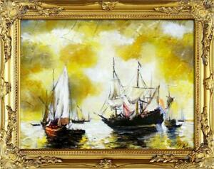 Painting-Oil-Painting-Picture-Oil-Frame-Pictures-Sea-Ships-Oil-Painting-G00104