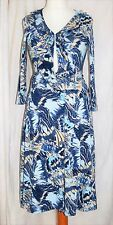 BETTY JACKSON STUDIO Size 10 Stunning Wrap Dress Navy Blue Beige Exl Cond *CLEAN