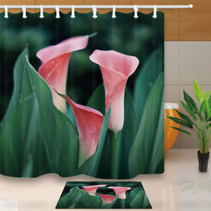 Image Is Loading Calla Lily Flower Natural Style Bathroom Fabric Shower