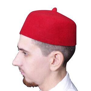 Details about TheKufi Red Felt Wool Fez Muslim Hat with Tip Kufi Prayer Cap  Islamic Wear
