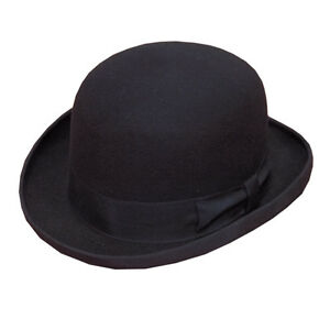 100-Wool-Adults-Black-Bowler-Hat-Mens-Womens-Fashion-Hat-Satin-Band-amp-Lining