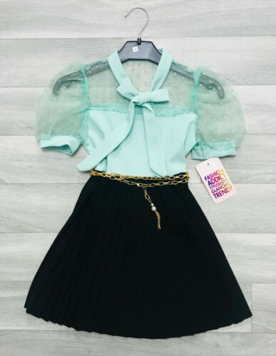 Girls Beautiful Summer Skater Dress with Belt Pleated Dress 2 to 10 Years NEW