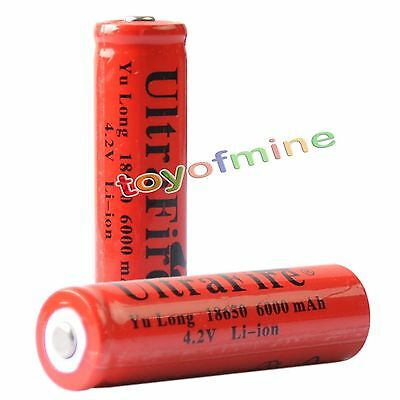 2x 4.2V 18650 Li-ion 6000mAh Red Rechargeable Battery for LED Torch
