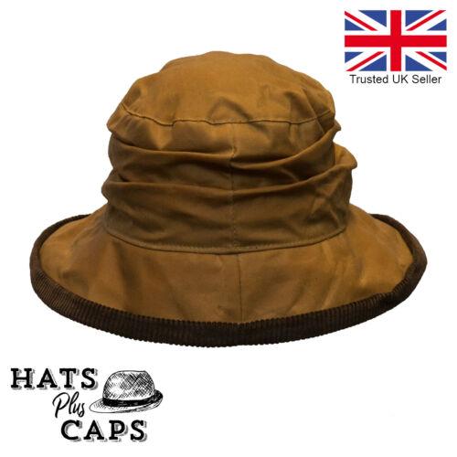 Señoras Sombrero Cloche Diana británico Algodón Encerado condado de cera Rain Hat repelente al agua
