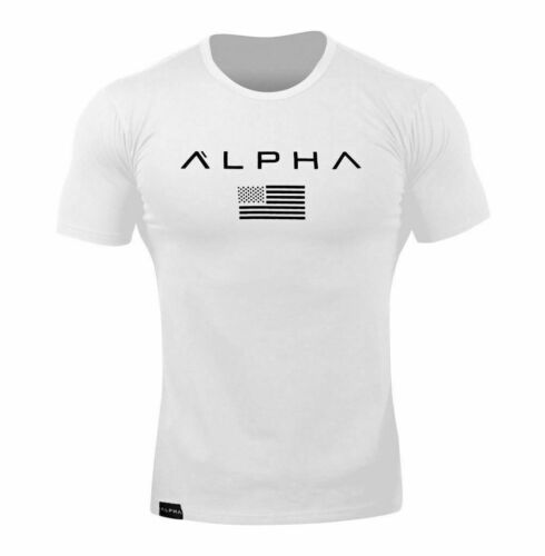 ALPHA Gym Men Muscle Fitness Cotton Fit Tee Workout T-Shirt Athletic Muscle Tops
