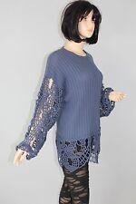 80er 80s Vintage Strick PULLI Pullover Knit JumperSweater CUT OUT Ärmel BLAU