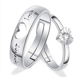 37cfe5db34 Lovers Heart Crystal Couple Rings Her and His Promise Ring Band Sale ...