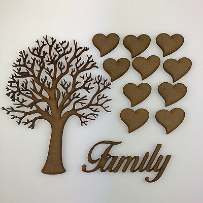 Family Tree Kit Set Heart 3mm MDF Laser Cut Wooden Craft Blank Wholesale Wedding