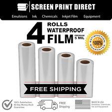 Waterproof Inkjet Transparency Film Screen Printing 24 X 100 4 Rolls 5 Mil