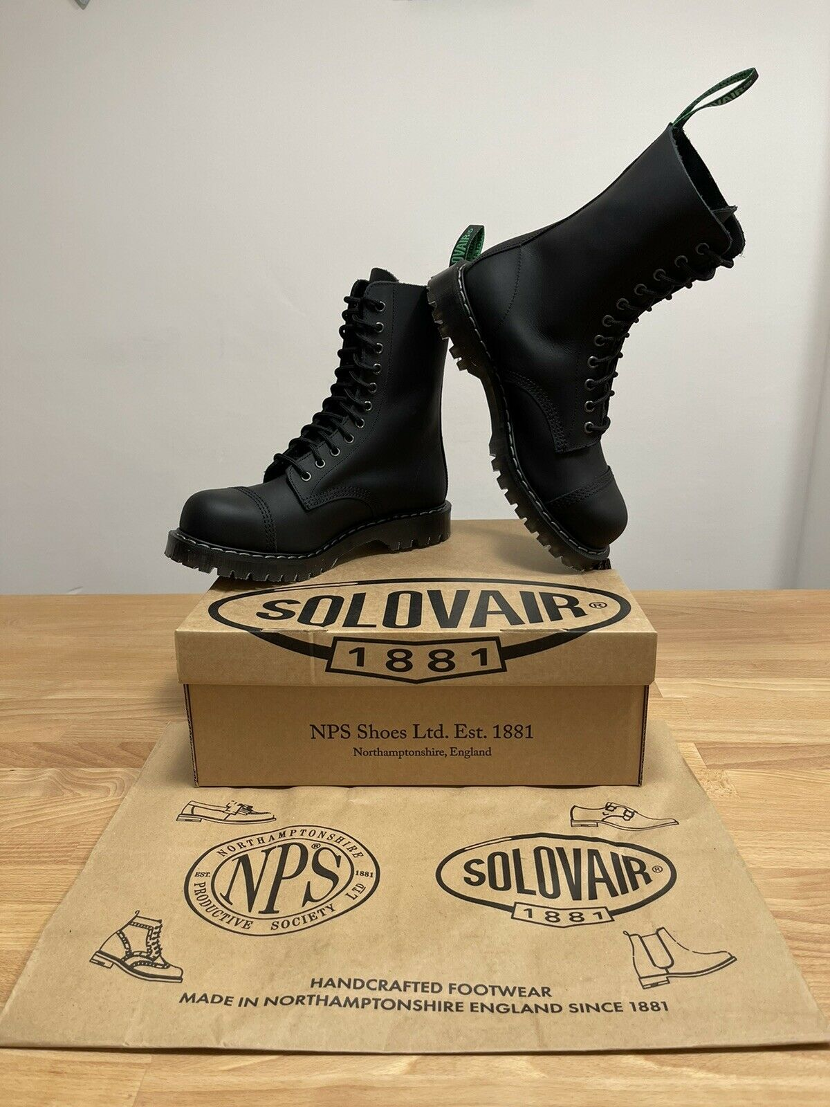 NPS SOLOVAIR Black Greasy 11 Eye Steel Toe Derby Boot! SizeUK7!New! Only!