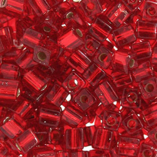 4mm Japanese seed beads Silver Lined Transparent Flame Red Square 20Grams